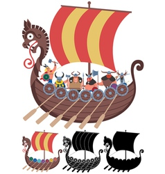 Viking Ship on White vector image vector image