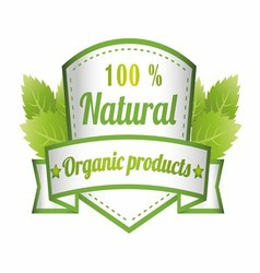 100 Natural Green Label Isolated vector image