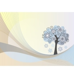 Abstract lines background with winter tree vector