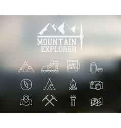 Adventure Badge and Icons Set vector image
