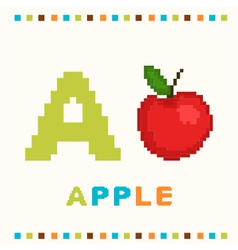 alphabet for children letter a and an apple vector image