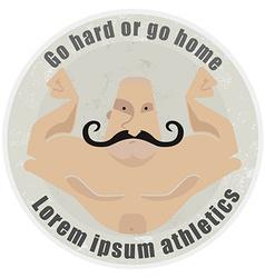 Athletic emblem with mustached bodybuilder torso vector