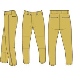 Baseball semi relaxed pants vector