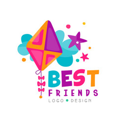 Best friends logo template with abstract toy kite vector