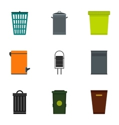 Bin icons set flat style vector image
