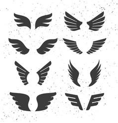 black wings set vector image