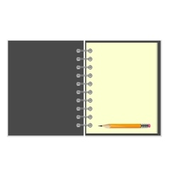 Blank grey cover notebook and pencil vector image