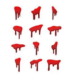 blood drip 3d set drop blood isloated white vector image