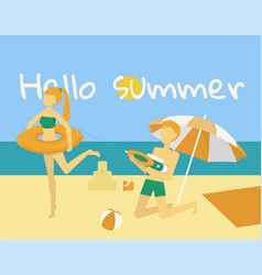 boy and girl play on beach summer vector image