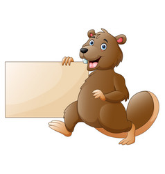 Cartoon beaver holding a blank sign vector