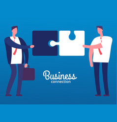 cartoon businessmen with puzzles business vector image