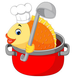 Cartoon funny fish being cooked in a pan vector