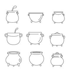 Cauldron kettle halloween icons set outline style vector