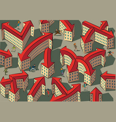 chaotic and confusing city vector image