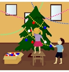 Children decorate Christmas tree vector