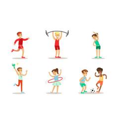 children doing different kind sports set teen vector image
