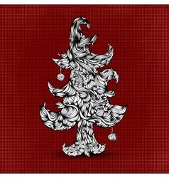 Christmas tree made of hair Beautiful greeting vector image
