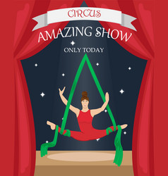 Circus aerial gymnast on the canvase vector