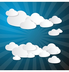 Clouds Made From Paper on Blue Background vector image