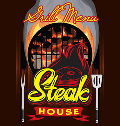 color menu template for steak house with vector image