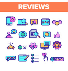 Color reviews thin line icons set vector
