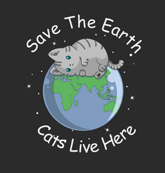 cute cat sleep on earth vector image