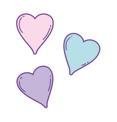 cute hearts drawings vector image
