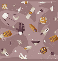 Cute space seamless pattern colorful kids vector