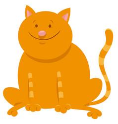 cute yellow cat cartoon animal character vector image