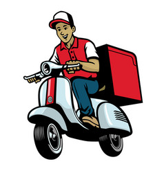 dalivery service worker riding vintage scooter vector image