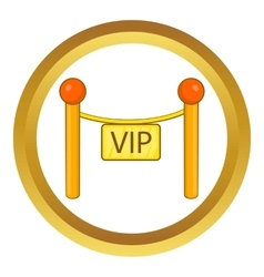 Decorative poles with tape for VIP icon vector