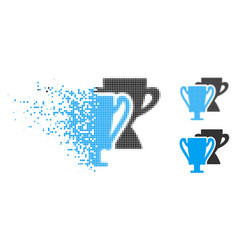 disappearing pixelated halftone trophy cups icon vector image