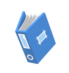 Document 3d icon blue paper object vector