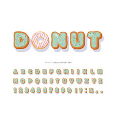 donut hand drawn decorative font cartoon sweet vector image