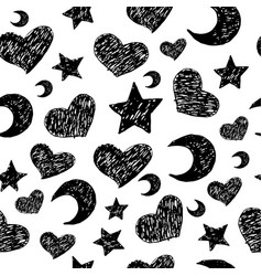 doodle seamless pattern with stars moons and vector image