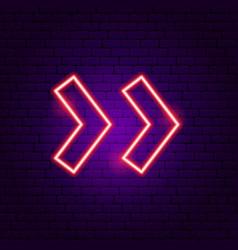 Double arrow neon sign vector