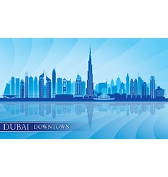 Dubai Downtown City skyline silhouette background vector
