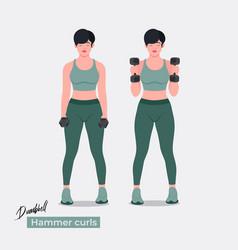 Dumbell hammer curls exercise vector