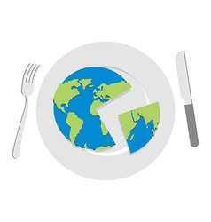 Earth on plate Globe cut with a knife Cutlery vector image