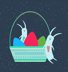 easter bunnies sleeping in a wicker basket with vector image
