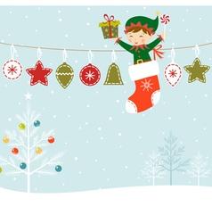 Elf present vector image