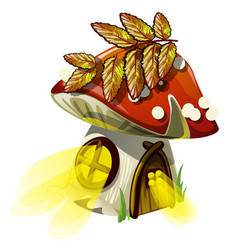 fairy house in form of acorn with glowing windows vector image