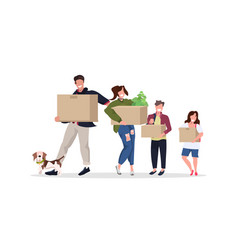 family carrying cardboard boxes happy parents and vector image
