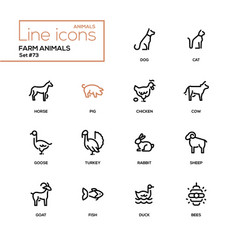 Farm animals - line design style icons set vector
