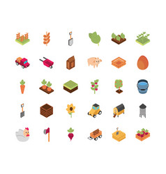 farm harvest agriculture rural isometric icons vector image