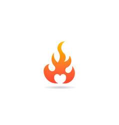 fire flame with heart negative space logo vector image