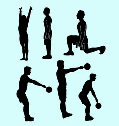 fitness sport activity silhouette vector image