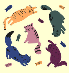 five colorful cats are playing with fish catfood vector image