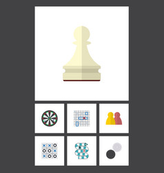 flat icon play set of arrow pawn multiplayer and vector image