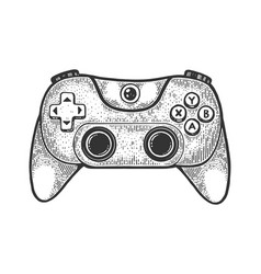 Gamepad controller sketch engraving vector